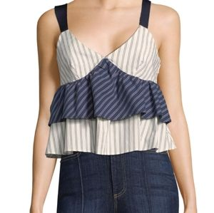 Joie Marjie  dark Navy porcelain tired ruffle tank